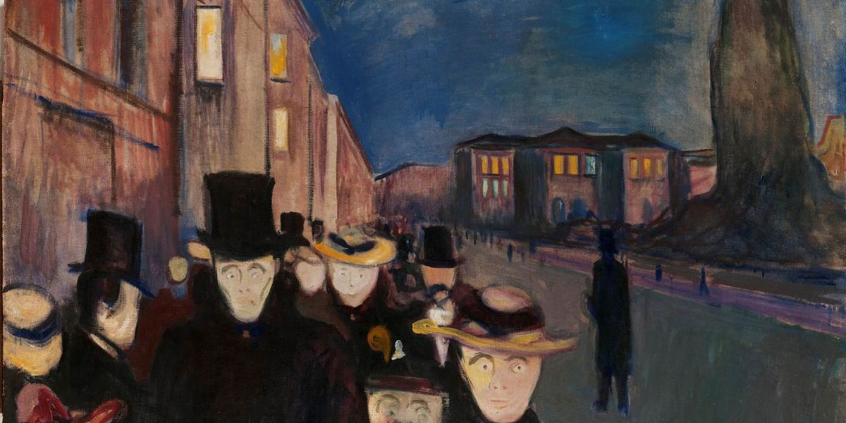 Evening on Karl Johan Street, Edvard Munch